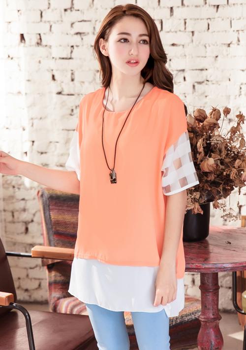 兩件式配色網紗袖雪紡衫-附背心