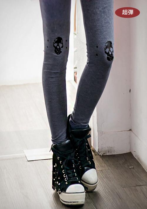 韓版骷髏燙印彈力內搭褲