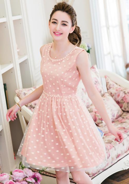 典雅珍珠領網紗洋裝M~L