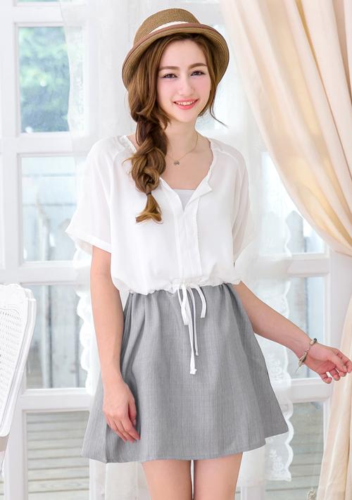 日系甜美風格雪紡洋裝