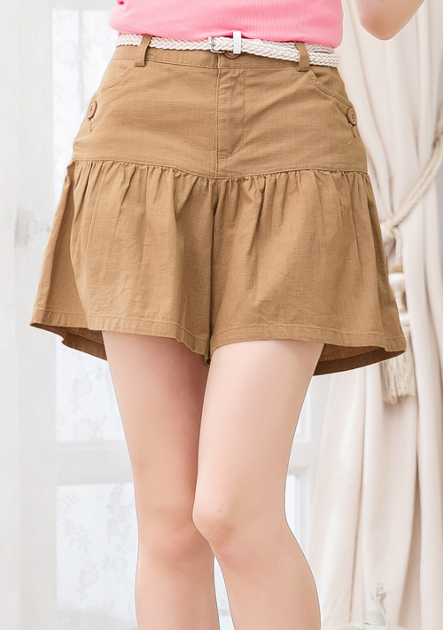 休閒下擺抓皺造型短褲-附皮帶