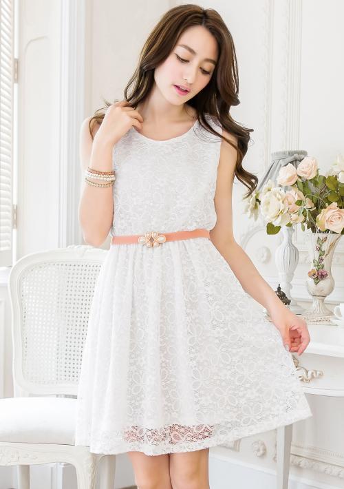 日系浪漫氛圍無袖蕾絲洋裝M~L