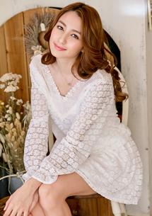 氣質蕾絲V領花紋縮腰洋裝