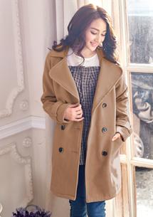 簡約翻領雙排釦大衣外套