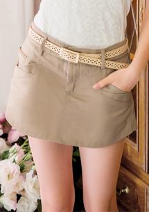 後彈性腰頭造型褲裙-附腰帶