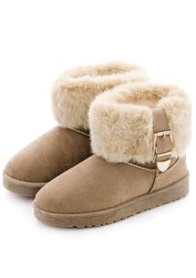 韓流釦環外絨毛造型雪靴