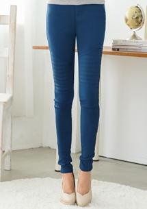 視覺設計膝平車線造型窄管褲