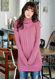 暖意花邊高領麻花原色毛衣