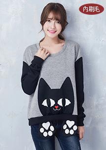 可愛貓咪內刷毛上衣