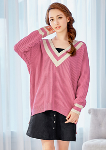 好感美學V領針織毛衣