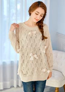 珍珠點綴蝴蝶結針織毛衣