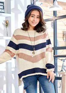 悠閒步調一字領針織毛衣