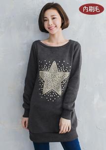 水鑽星星內刷毛長版上衣