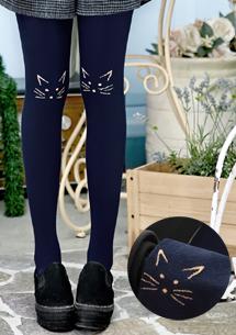 貓咪刺繡造型保暖褲襪