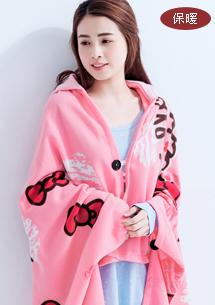 Hello Kitty甜心蝴蝶結保暖帽毯