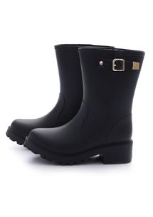 經典時尚金屬飾釦中筒雨靴