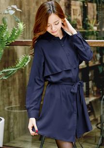 清新佳人雪紡洋裝式外套-附綁帶M-L