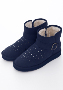 亮鑽金屬飾釦內增高短筒雪靴