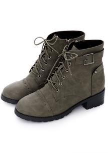 質感綁帶釦環側拉鍊短靴