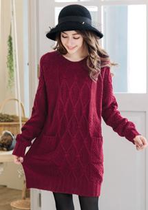 冬意漸濃織紋針織長毛衣