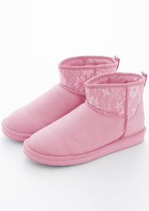 甜嫩色系蕾絲拼接內增高雪靴