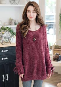 花漾編織交叉繩袖針織毛衣