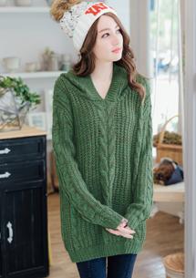 浪漫織紋混色連帽針織毛衣