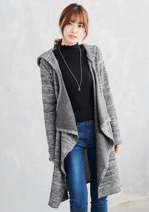 俐落刷毛開襟針織外套