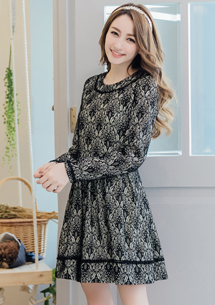 花漾年華滾邊蕾絲壓紋洋裝