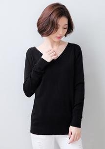 韓妞V領後交叉針織衫