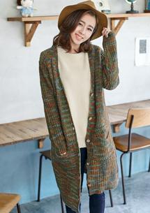 知性文藝混色針織毛衣外套