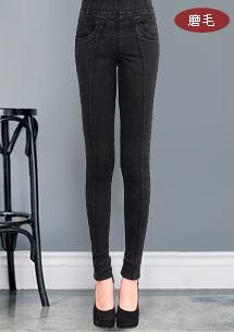 立體剪裁纖腿磨毛彈力窄管褲