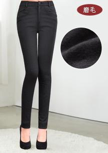 完美比例細直條磨毛直筒褲