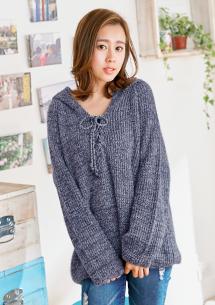 靜謐暖冬綁帶連帽針織毛衣