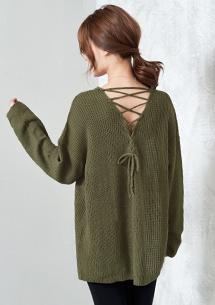 微醺後交叉綁帶針織毛衣