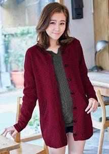 休閒主張排釦針織毛衣外套