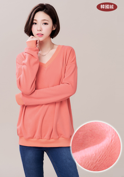 柔暖韓國絨V領上衣