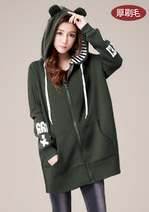 韓風設計開衩厚刷毛外套