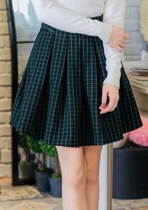 風姿綽約格紋縮腰褲裙