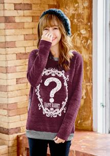 輕甜雪花針織刷毛上衣