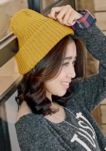 細膩手作反折針織毛線帽