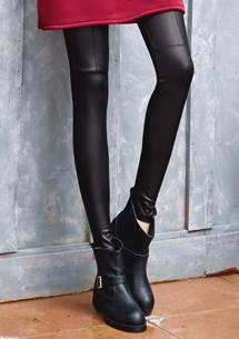 時尚光滑質感修身內搭褲