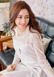 夢幻精緻蕾絲微透膚洋裝M-L