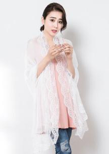輕漾素雅蕾絲長絲巾