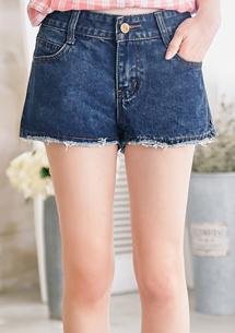 恣意美型豹紋口袋牛仔短褲M-XL