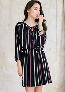 輕熟時尚V領抽繩條紋洋裝