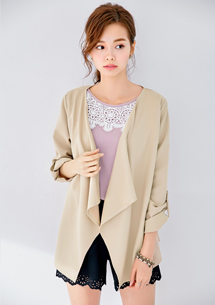 優雅嚴選開襟反折袖外套