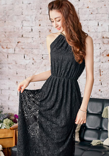 優雅風尚蕾絲削肩長洋裝
