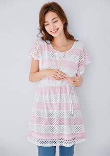 燦爛甜美條紋洋裝-附綁帶