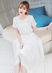 高雅珍珠領雕花雪紡長洋裝